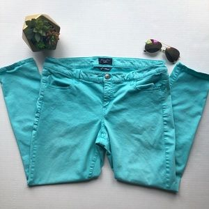 AEO Turquoise Blue Super Stretch Jeggings Plus